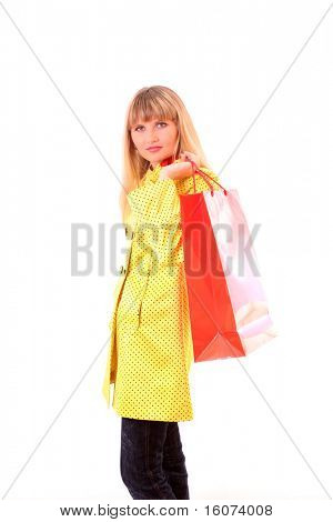 girl in yellow cloak with red bag  on white