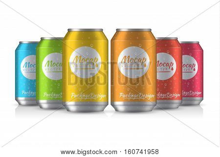 Vector illustration. EPS 10. The image of the empty layout for your design. Package design. Bottle with water drops. Mock up illustration. Bank of carbonated water. Tasty drink, can lemonade or beer.