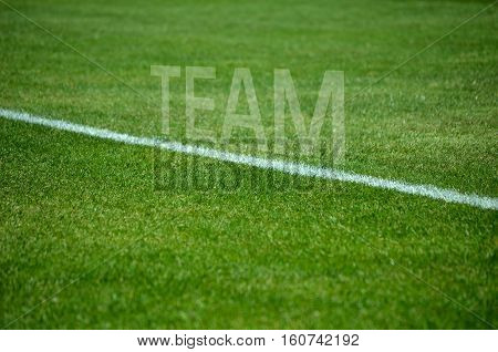 Football background Text team on green grass with white lane