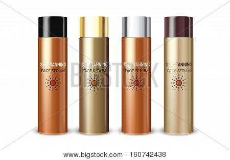 Tanning facial serum in different color of packages. Vector illustration of realistic cream bottles isolated on white background.