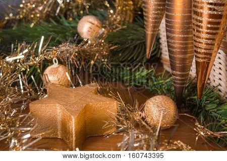 Christmas still life with fir and christmas toys