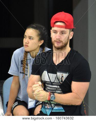 Hong Kong China - Oct 29 2016. Shane TUSUP (USA) coach and husband of Katinka Hosszu (HUN) olympic champion swimmer in Victoria Park Swimming Pool. FINA Swimming World Cup Finals.