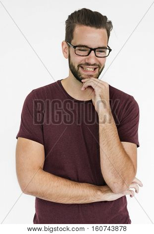Men Wear Glasses Think Concept