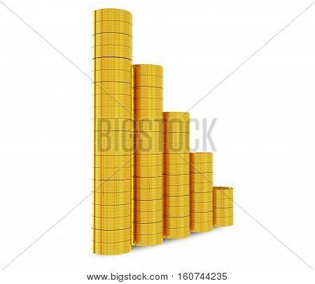 golden coins chart on white - 3d rendering