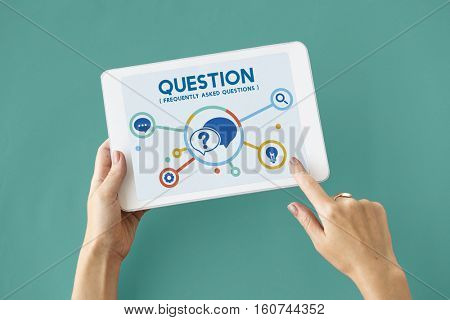 Help Question Contact us Information Concept