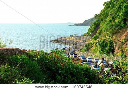 Car stuck on the beach during the holiday season.Noen nangphaya view point Khung Wiman Beach Chanthaburi Thailand.