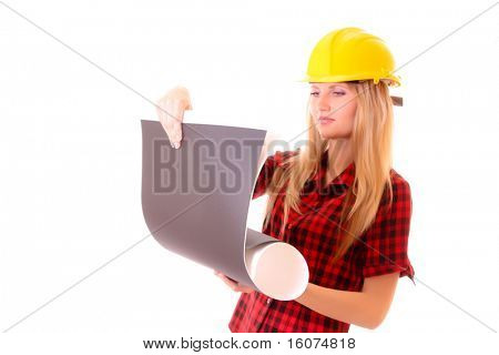 Young woman in helmet with paper isolated on white