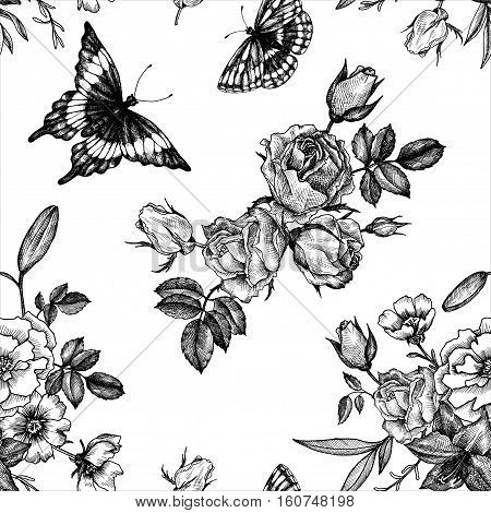 vintage vector floral seamless pattern in victorian style with flowers, buds, leaves and butterfly, ink drawing, imitation of engraving, hand drawn background