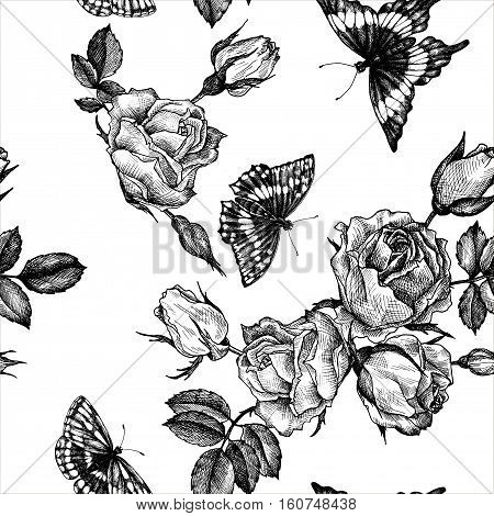 vintage vector floral seamless pattern in victorian style with flowers, buds, leaves and butterflies, ink drawing, imitation of engraving, hand drawn background