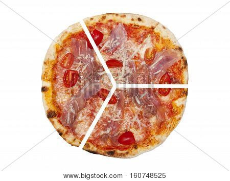 Three pieces of pizza isolated on the white background
