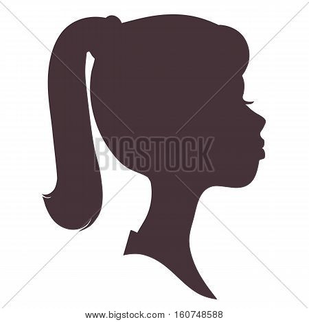 Girl face silhouette. Pretty girl with long hair