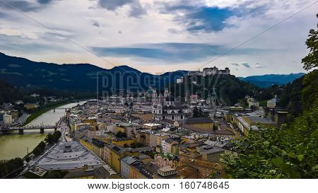 Aerial cityscape panorama view to Salzburg old city Austria