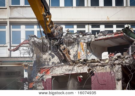 Bulldozer Is Destroying An Old Building