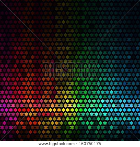 Abstract lights disco background. Multicolor star pixel mosaic vector.