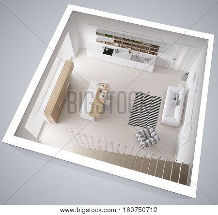 Scandinavian white kitchen minimalistic interior design cross section top view, 3d illustration
