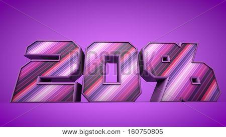 nice 20%  sale purple 3d text illustration