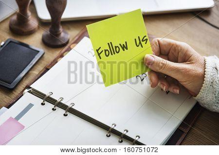 Follow Us Social Media Networking Blog Content Concept