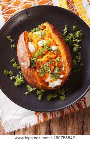 Great Food: Sweet Potatoes Baked With Cream Cheese, Butter And Parsley Close-up. Vertical Top View