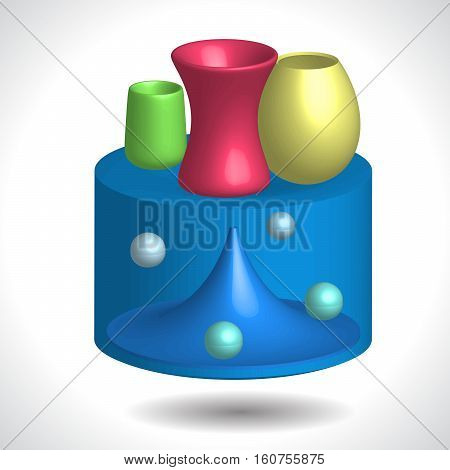 abstract table designer table with colorful vases 3D illustration