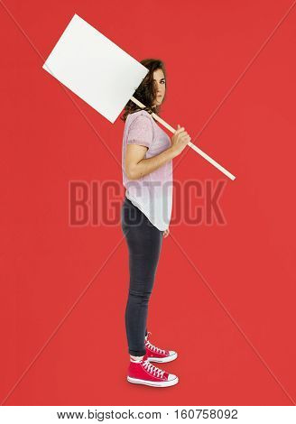 Female Holding Protest Banner Placard Concept