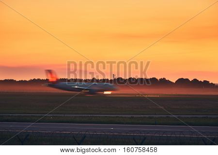 Airplane Taxiing To The Runway