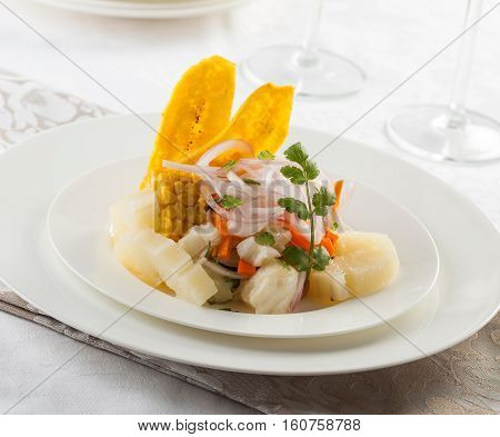 Delicious fish ceviche typical dish from Peru