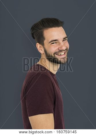 Man Cheerful Side View Studio Concept