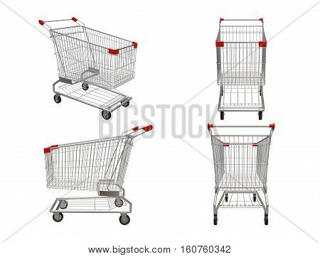 Set of Shopping carts isolated on white background. 3D illustration