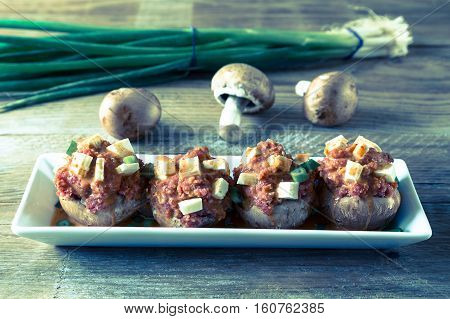 Stuffed Mushrooms Ingredients for preparation vintage picture