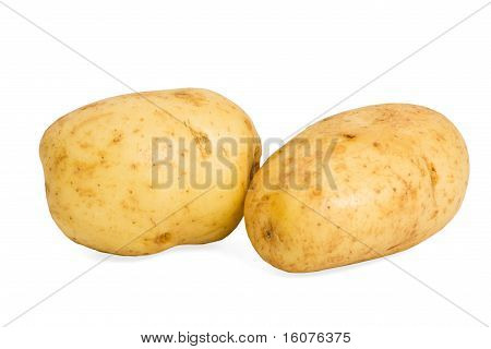 Two Baking Potatoes, Isolated On White