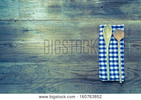 Kitchen Towel Wooden Spoon On Rustic Wooden Background