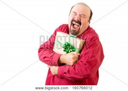 Happy Screaming Man In Red Holding Gift