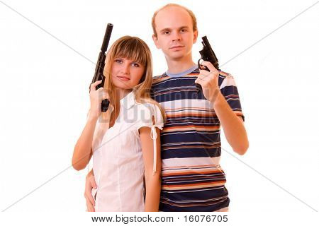 woman and man with guns over white