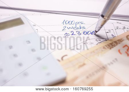 calculation of production project money and drawings