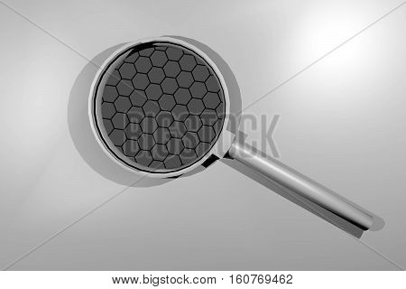 The new material graphene under a magnifying glass.
