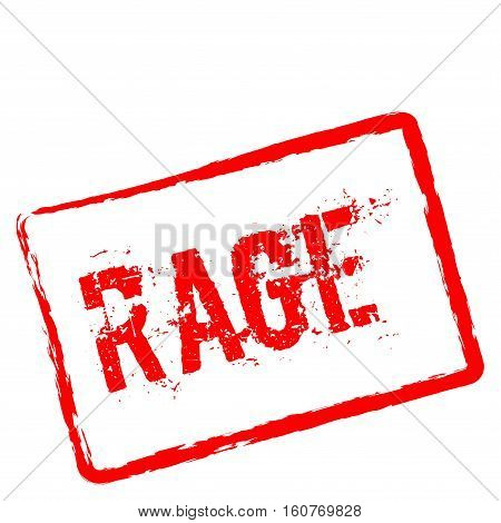 Rage Red Rubber Stamp Isolated On White Background. Grunge Rectangular Seal With Text, Ink Texture A