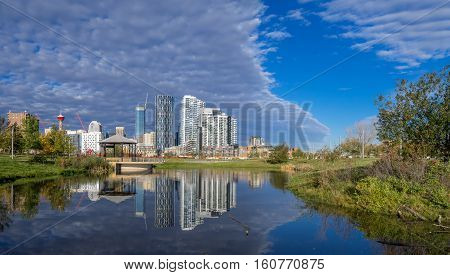 Calgary downtown as viewed from the East Village. The iconic Calgary Tower can be seen in the background.