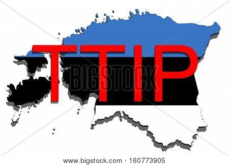 Ttip - Transatlantic Trade And Investment Partnership On Estonia Map
