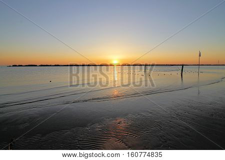 sunrise on the beach of the Adriatic sea in Italy
