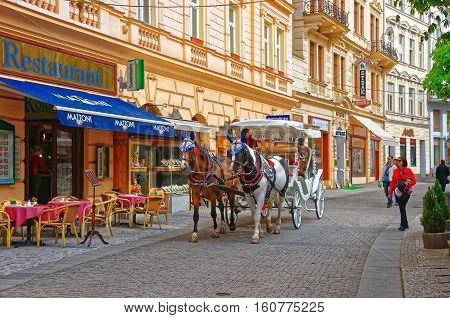 Horse Carriage At Promenade Street Karlovy Vary