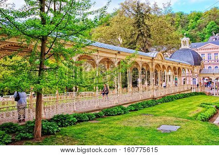 Park Colonnade With Wooden Alcove In Karlovy Vary