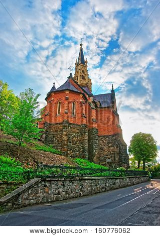 Saint Luke Church On Castle Hill Of Karlovy Vary