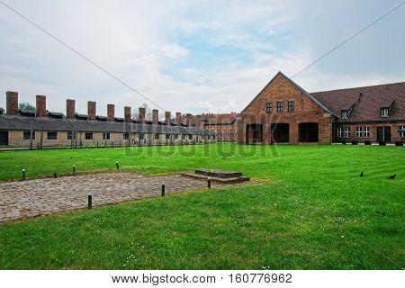 Crematorium and barracks of Auschwitz concentration camp Poland.