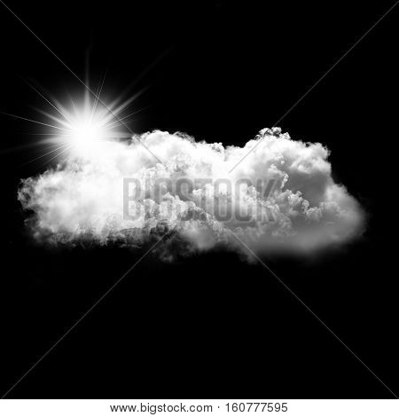 White cloud with a sun behind it isolated over black background 3D rendering illustration design elements. Sunny weather cloud shape