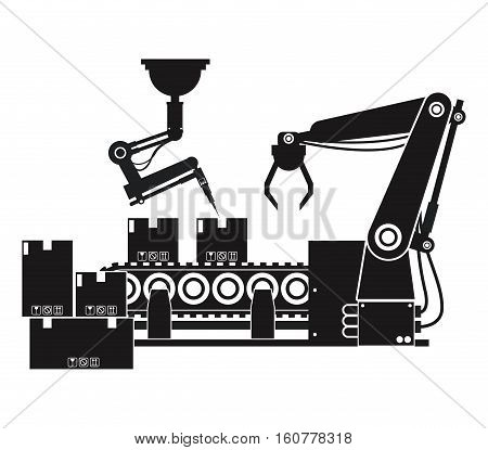 silhouette packing box automated robotic production line vector illustration eps 10