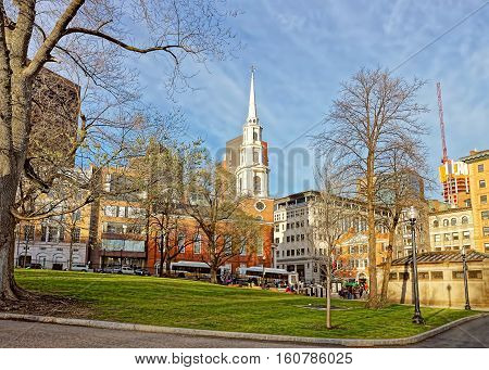 Park Street Church In Boston Common Public Park Usa