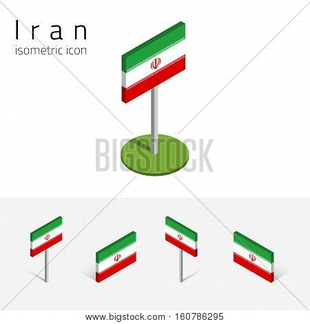 Iranian flag (Islamic Republic of Iran) vector set of isometric flat icons 3D style different views. Editable design elements for banner website presentation infographic poster map. Eps 10