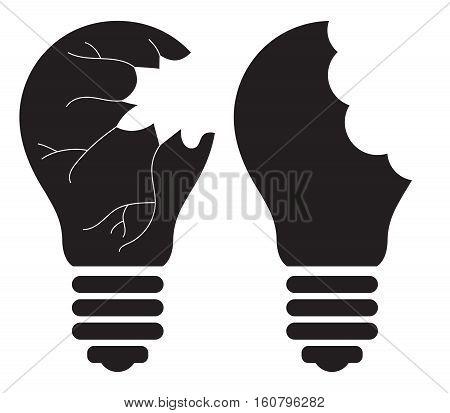 Light Bulb - Killing, Smashing, Shattering, Breaking, destroying, Stealing good idea concept. Vector icon