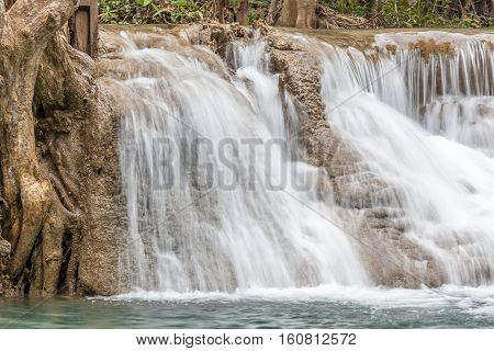 Nature background of beautiful waterfall cascades in National Park.