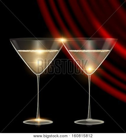 black background and couple of glasses champagne or white wine with dark red drape